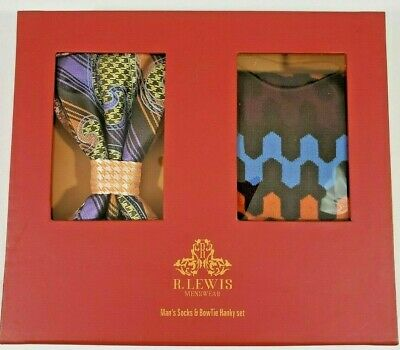 Robert Lewis Matching 3 Piece Neck Tie Socks Hanky Box Gift Set Gold Yellow