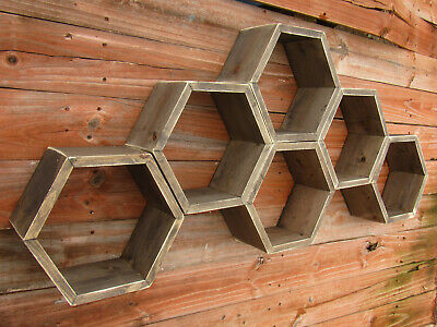 TURQUOISE AND BROWN Honeycomb shelves, Hexagon Shelves, Distressed Shelves