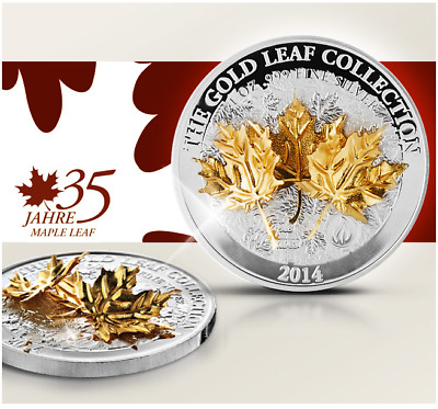 "Samoa 2014 10$ Gold Leaf Collection 3D Maple Leaves 1 Oz Silbermünze  ""3"""