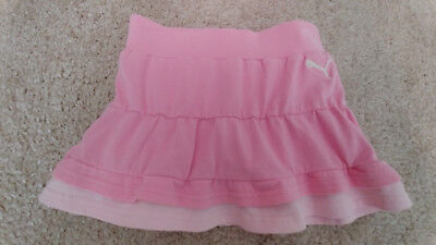 PUMA Girls Skort Size 4 Athletic Tennis Play Cotton Spandex Tiered Ruffled Pink