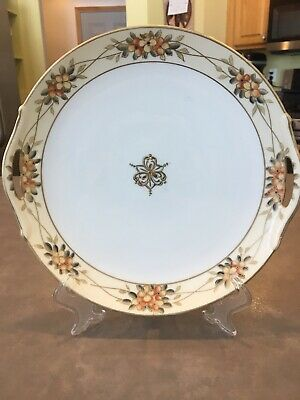 Vintage Nippon Moriyama Hand Painted Serving Plate Handles Moriage Beaded Gold