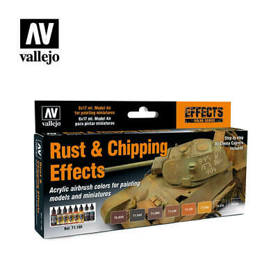 Vallejo Model Air: Rust & Chipping Effects 8 Bottles Acrylic Paint VAL71186
