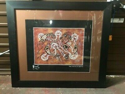 2 Aboriginal Art Pictures framed in black wood with glass front