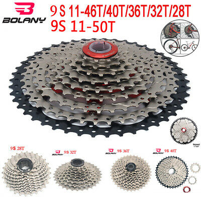 BOLANY 9 Speed Cassette 11-50T 46T 42T MTB Cassette Mountain Bicycle Freewheel