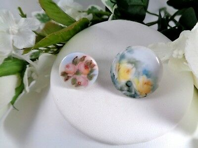 Hand Painted Floral Victorian Porcelain Button or Cufflinks Single Lot #1