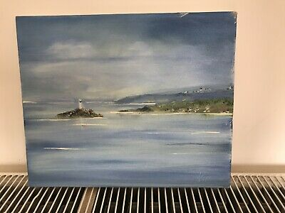 ORIGINAL OIL ON CANVAS PAINTING SEASCAPE COASTAL IMPRESSIONiST MODERN