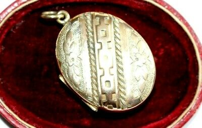 Large Antique Victorian Gold Plated Pinchbeck Locket. Forget Me Not's.