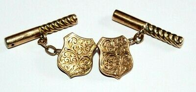 Exquisite Pair Of Antique Victorian 9Ct Gold Cufflinks. Foliate Engraving.