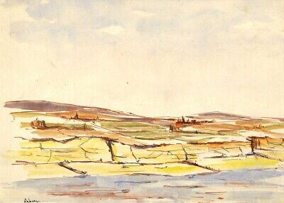 Robert Warren, Coastal Landscape with Tree Stumps - 1946 watercolour painting