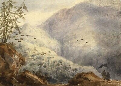 Attrib. John Henderson, Mountain Scene - Original 19th-century watercolour paint
