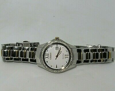 Citizen FE1144-85B Ladies Eco-Drive Crystal Accented Bezel Two Tone Watch
