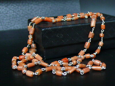(dB1213) Tibet : Natural OLD SALMON CORAL BEADS & STERLING SILVER Necklace