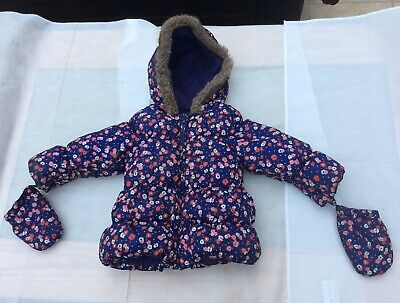M&S 12/ 18  Months Girls Padded Jacket Purple Mix With  Detachable Mittens