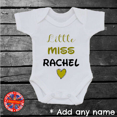 Little Miss Personalised Baby Grow Vest, T-shirt, Kids, Girls, Gift, Any Name