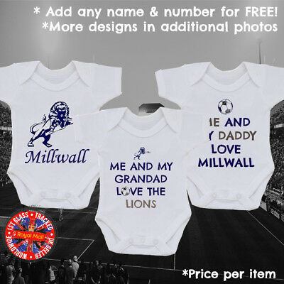 Millwall Inspired Football Personalised Babygrows in Variety of designs, Gift