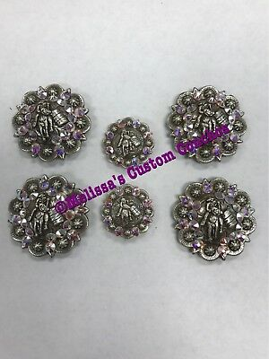 Western Barrel Racer Saddle Set Of Conchos With Screws Bling