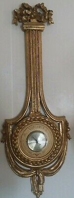 Antique French bow barometer giltwood ~neoclassical  VGT