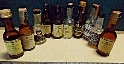 TEN Vintage Collection of Different MINIATURE WHISKEY BOTTLES Guc