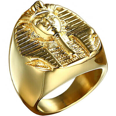 Pharaoh Ring Gold King Egyptian Mens Ankh Sphinx 316L Stainless Steel Sizes 9-13
