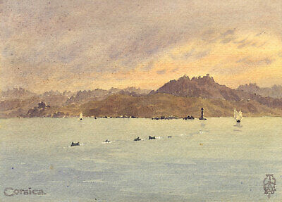 Sir Edgar Thomas Wigram, Dolphins off Corsica - Early C20th watercolour painting