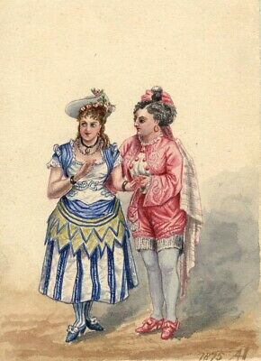 Albert A. Harcourt, Comic Opera Characters – 19th-century watercolour painting