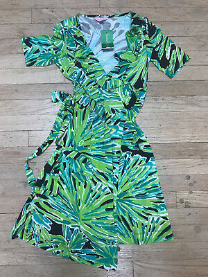 d5d0272359cbad NWT Lilly Pulitzer Adalie Ruffle Wrap Dress Green With Envy Tropical Palm XS