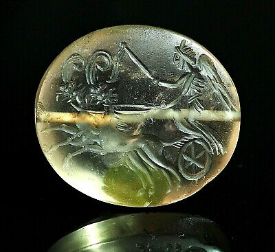 Stunning!! Ancient Carnelian Intaglio Angel On Myth 2 Legs Elephant Stone Carved