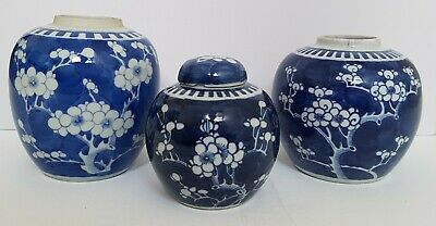 Three Good Antique Chinese Porcelain Blue & White Prunus Blossom Jars