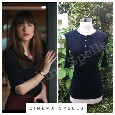 ASO Anastasia Steele Fifty Shades Darker Navy Blue Ribbed Henley Top Size S