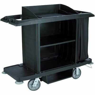 NEW Rubbermaid Commercial FG618900BLA Housekeeping Cart, Full Size, Black