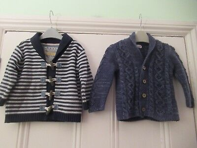 9-12m: 2 lovely NEXT cardigans: Blue/Striped: 100% cotton: Good condition
