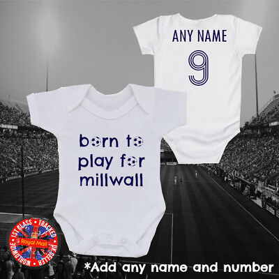 """Millwall Inspired Football """"Born to play for"""" Personalised Babygrow, Gift ideas"""