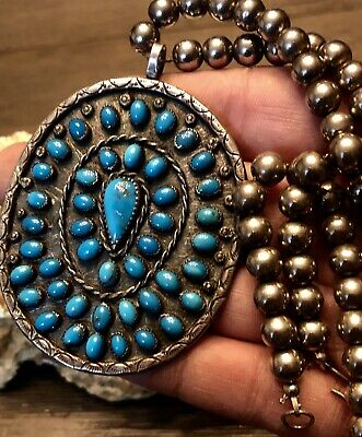 Large Rare Old Pawn Navajo Sterling Bead Gem Deep Blue Turquoise Necklace SIGNED