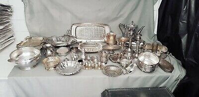 A Job Lot 38 Vintage Silver Plated Items.many Makers Names.8 Kgs In Weight.