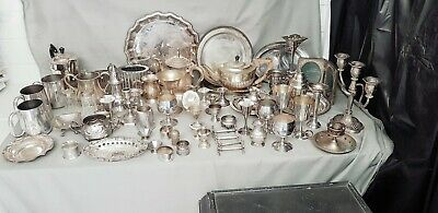 A Large Job Lot Of 60 Items Of Vintage Silver Plated Items.many Makers Names.