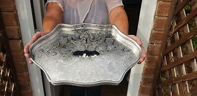 A Beautiful Vintage Silver Plated Gallery Tray With Engraved Patterns.sheffield.