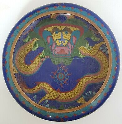 MAGNIFICENT LARGE ANTIQUE CHINESE CLOISONNE DRAGON BOWL 19th CENTURY SIGNED
