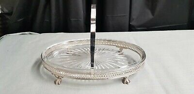 A Beautiful Antique Silver Plated/cut Glass Fruit Dish On Clawed Legs.ornate.