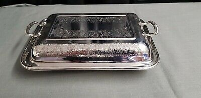 An Antique Silver Plated Tureen Dish With Beautiful Engraved Patterns.ornate.