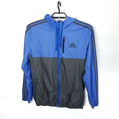 965045d63d19 Mens Adidas Full Zip Jacket SZ M Nylon Three Stripe Blue Gray Hooded  Windbreaker