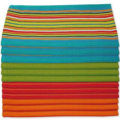 Kitchen Dish Towels Salsa Stripe - 100% Natural Absorbent Cotton 28x16 inches