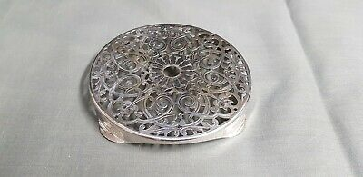 An Antique 1930.s Silver Plated Kettle Stand With Pierced Patterns.very ornate.