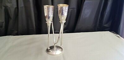 A Pair Of Beautiful matching Silver Plated Wine Flutes And Stand.very ornate.
