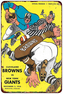 1958 Cleveland browns vs new york giants reproduction Metal Sign 8 x 12