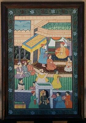 """#1 ANTIQUE? 19th C? HINDU OR PERSIAN HAND PAINTED SCENE ON SILK 21""""x30"""" Framed"""