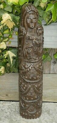 Antique Naive Carved Wooden Madonna & Child, Black Forest