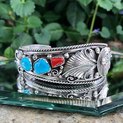 STERLING SILVER ANNIE CHAPO CORAL TURQUOISE CUFF Flowers Leaves 34.1gm 1.10ozt