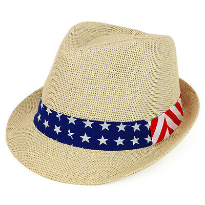 8f2b445d7ce USA Flag Print Patriotic Band Paper Straw Fedora Hat - FREE SHIPPING