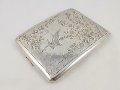 Vintage Chinese Silver Cigarette Case w/ Cherry Blossom & Bird Engraving c 1947