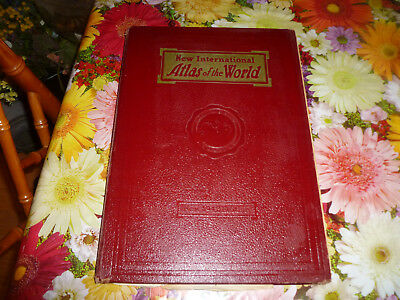NEW INTERNATIONAL ATLAS OF THE WORLD 1942 EDITION hard cover large
